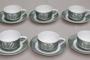 Old Curiosity Shop pattern china, vintage Royal green transferware cups & saucers