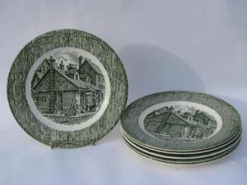 Old Curiosity Shop pattern china, vintage Royal transferware, 6 dinner plates