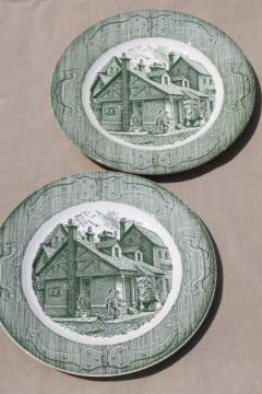 Old Curiosity Shop pattern china, vintage Royal transferware dinner plates