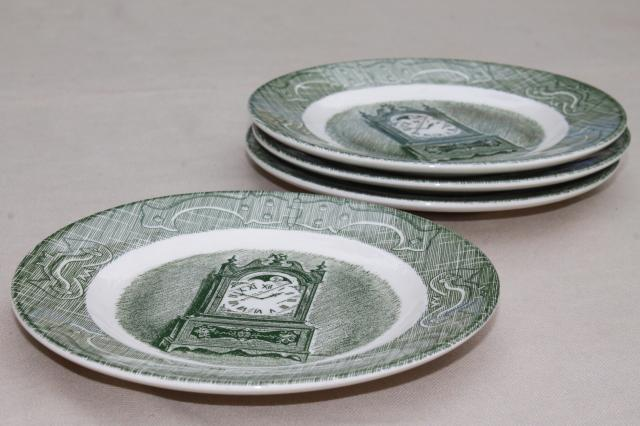 Old Curiosity Shop set of 4 clock print bread plates, vintage Royal china green transferware