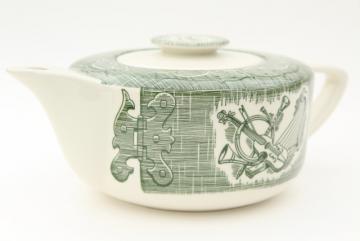 Old Curiosity Shop teapot, vintage USA Royal china tea pot green & white