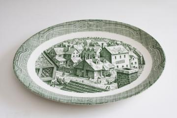 Old Curiosity Shop vintage Royal china transferware platter, green print