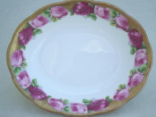 old english rose royal albert bone china oval serving bowl w heavy gold