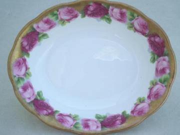 Old English Rose Royal Albert bone china oval serving bowl w/ heavy gold