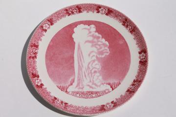 Old Faithful Yellowstone geyser souvenir vintage transferware china plate