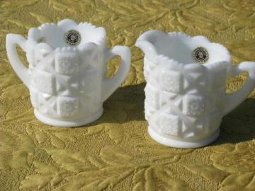 Old Quilt pattern milk glass cream & sugar set, vintage Westmoreland