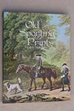 Old Sporting Prints, vintage book of color print art plates, English hunt scenes etc.