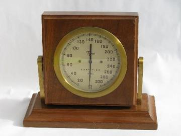 Old Tycos brass & mahogany desk barometer, vintage weather instrument