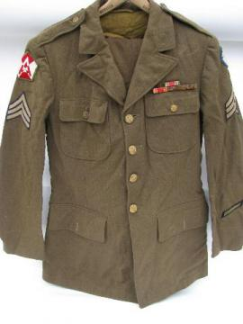 Old WWII US 15th Army (ETO) NCO dress uniform with ribbons, patches