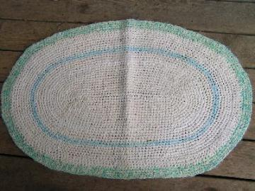 Old crocheted cotton rag rug, aqua with white