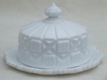 Old quilt Westmoreland milk glass cheese plate or round covered butter dish