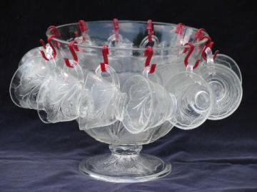 Orchard crystal vintage Tree of Life pattern punch bowl, set of cups