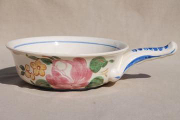 Orleans Red Wing pottery casserole dish, stick handle bowl w/ hand painted floral