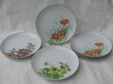 Otagiri - Japan, 8 dinner plates w/ flowers, Gibson Greetings patterns