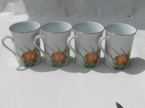 Otagiri china Gibson Greetings mugs or cups, orange lily / brown sparrow