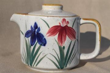 Otagiri vintage Japan stoneware teapot, red & blue iris hand-painted pottery