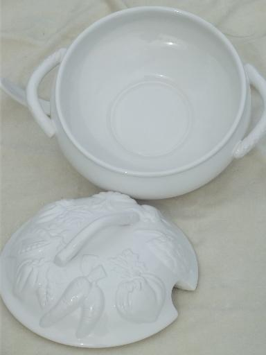 Over & Back majolica embossed fruit earthenware soup tureen & ladle