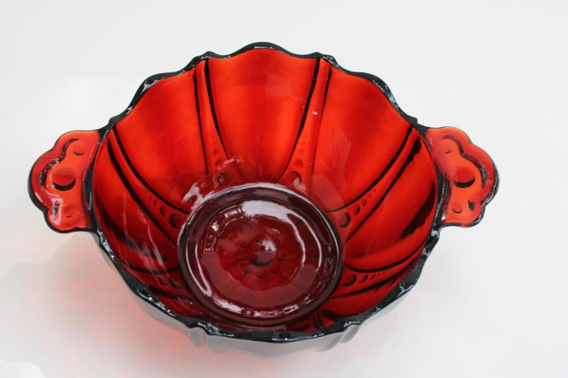 Oyster and Pearl royal ruby red depression glass bowl, bonbon dish w/ little handles