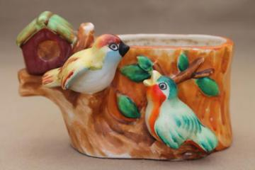 PY Japan birds & birdhouse on tree stump, vintage hand-painted china planter pot
