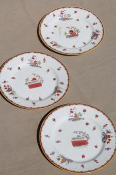 Pagoda pattern chinoiserie china plates, old Johnson Brothers plates w/ British export labels