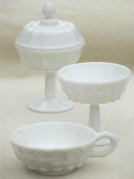 Paneled Grape pattern grapes milk glass set, candy dishes & nappy bowl