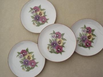 Pansy Bouquet porcelain dessert plates set, Sheffield Garden Club china