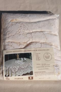 Parma Nottingham lace tablecloth, mint in package Scranton lace ivory 70 x 108