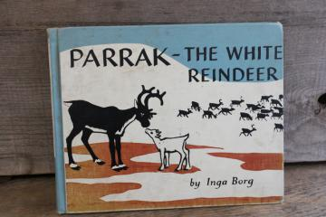Parrak the White Reindeer Inga Borg Sweden vintage ex-library picture book