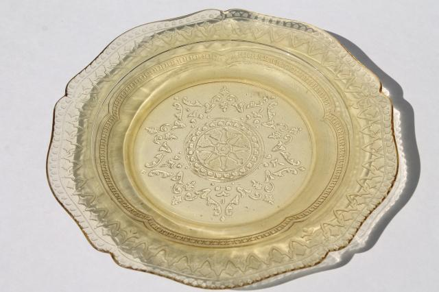 Patrician Pattern Vintage Amber Yellow Depression Glass