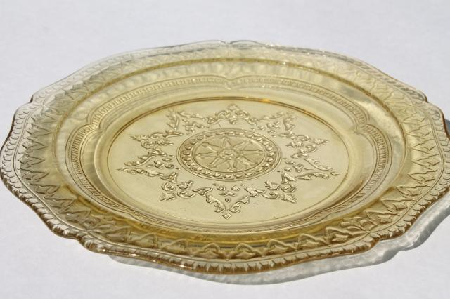 Patrician pattern vintage amber yellow depression glass luncheon plates