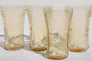 Patrician pattern vintage amber yellow depression glass tumblers, set of four