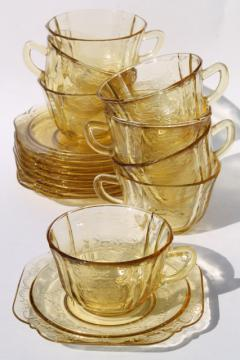 Patrician pattern vintage yellow depression glass tea cups & saucers set of 8
