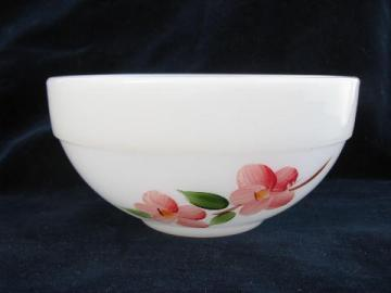 Peach Blossom vintage hand-painted Gay Fad Fire-King glass mixing bowl