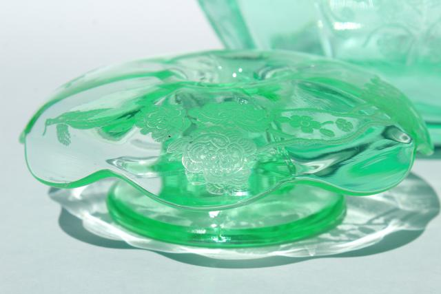 Peacock & Rose art deco vintage vaseline green uranium glass candle flower bowl set