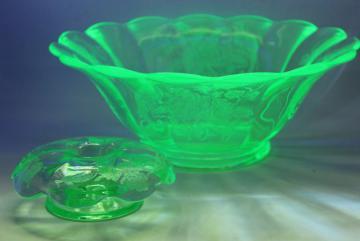 Peacock & Rose art deco vintage vaseline green uranium glass candle flower bowl set