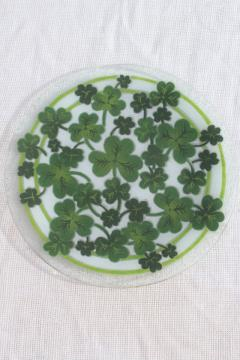 Peggy Karr glass platter or plate, shamrocks green clover serving tray