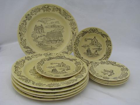 Pennsylvania Dutch folk art dinner plates, vintage Bucks