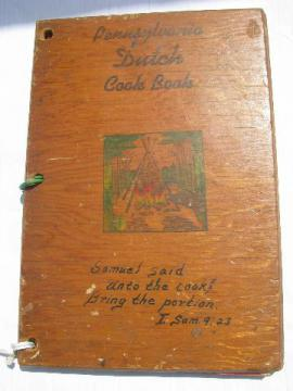 Pennsylvania Dutch recipes vintage cookbook w/ pyrography cover