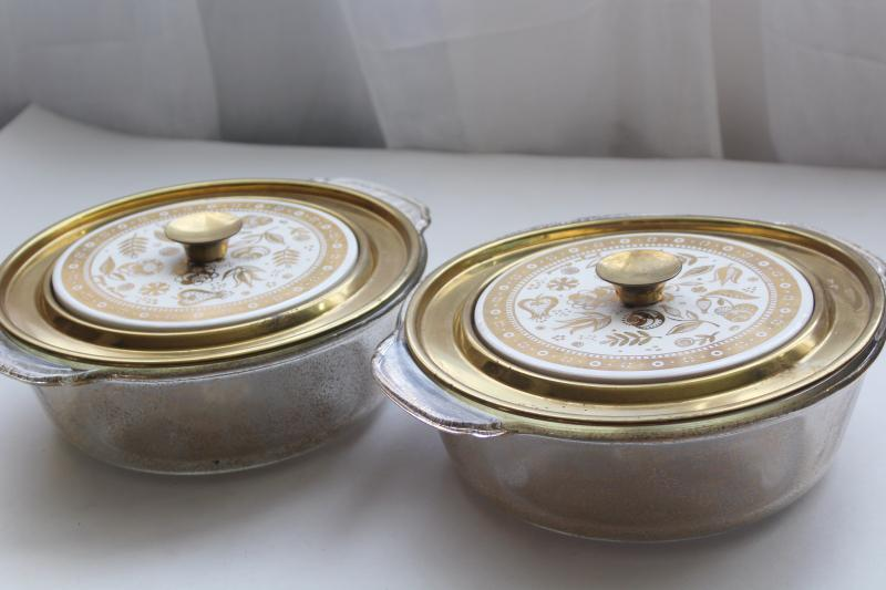 Persian Garden Georges Briard gold decorated Fire King casserole dishes, mid-century vintage