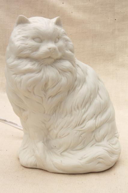 persian cat pure white bisque china nightlight 80s vintage enesco label