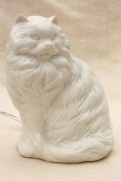 Persian cat pure white bisque china nightlight, 80s vintage Enesco label