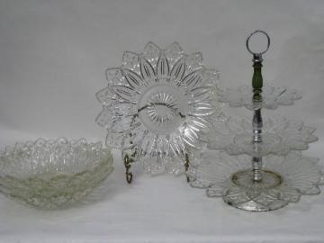 Petal pattern vintage pressed glass flower pattern dishes lot