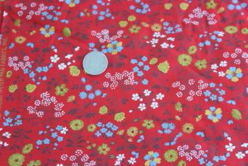 Peter Pan Fabrics vintage red calico print cotton material, 4 yards