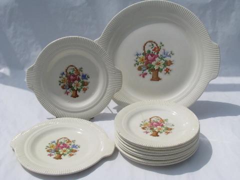 Petitpoint flower basket pattern vintage Salem pottery dishes Victory shape & Petitpoint flower basket pattern vintage Salem pottery dishes ...