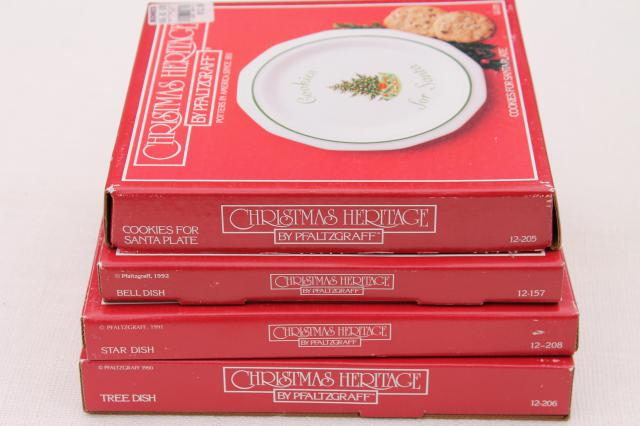 Pfaltzgraff Christmas Heritage holiday dishes - Cookies for Santa, star, bell, tree shapes