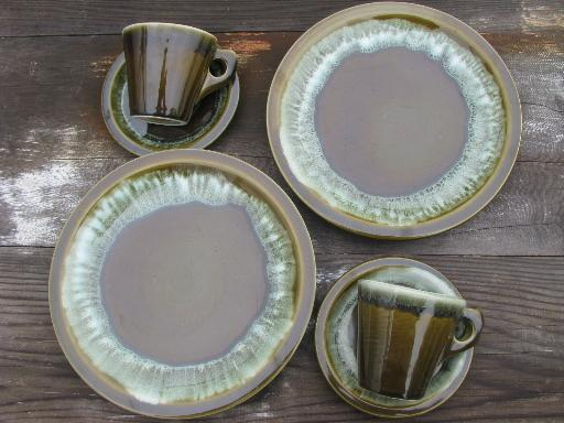 pfaltzgraff copper green drip stoneware pottery plates cups and saucers