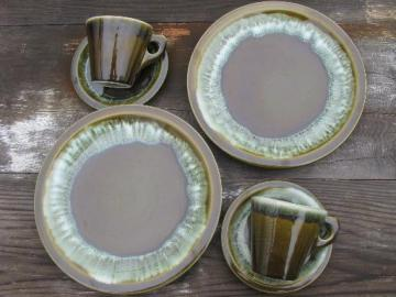 Pfaltzgraff copper green drip stoneware pottery plates, cups and saucers