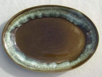 Pfaltzgraff green drip pottery platter, Gourmet stoneware by Pfaltgraff