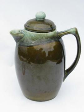 Pfaltzgraff green drip stoneware pottery coffee pot