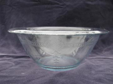 Philbe embossed pattern, vintage Fire-King sapphire blue kitchen glass mixing bowl